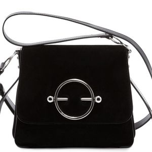J W ANDERSON BLACK SUEDE AND LEATHER DISC BAG